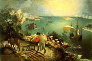 """Bruegel, """"La caduta di Icaro"""""""